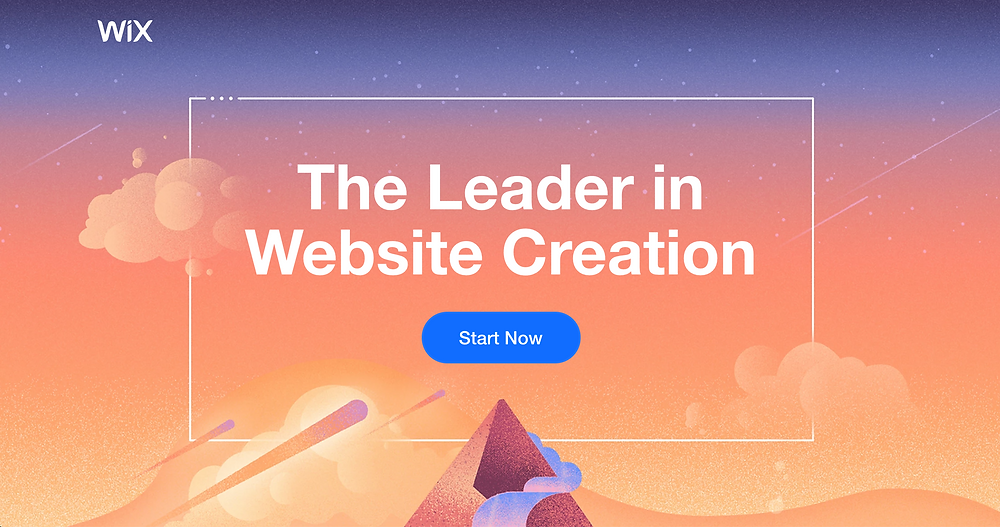 """A screenshot of the Wix HomePage (Landing Page) which reads """"The Leader in Website Creation""""."""