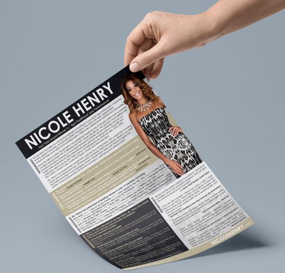 Nicole Henry Artist Corpotate One Sheet Lifestyle Mockup