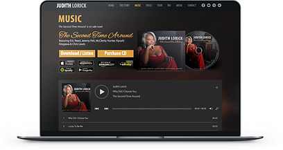 Artists, Musicians and Band Websites. Sell your music & merch online, build your fanbase and brand visually through email subscribers and social media initiatives. Judith Lorick Jazz Musician Singer Website which sells CD, merch, and has a live music player on the website. Classy web design theme using golds red and dark browns.