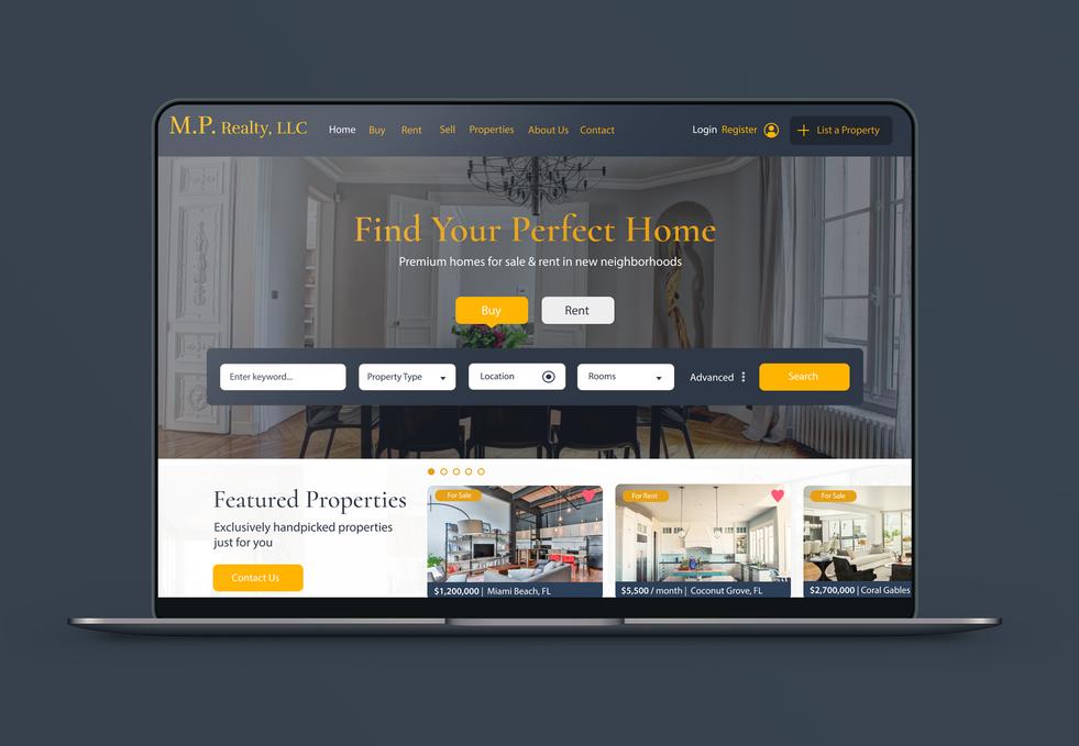 Real Estate Website Mockup for MP Realty.