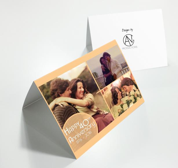 Happy 40th Anniversary Greeting Postcard Mockup