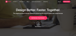 """A screenshot of the Invision App and Softwares homepage. The headline title reads """"Design Better, Faster, Together."""""""