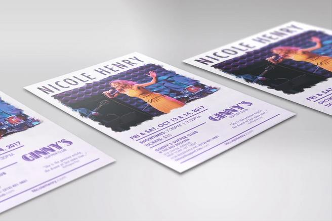 Nicole Henry Ginny's Purple theme flyer lifestyle mockup 2017