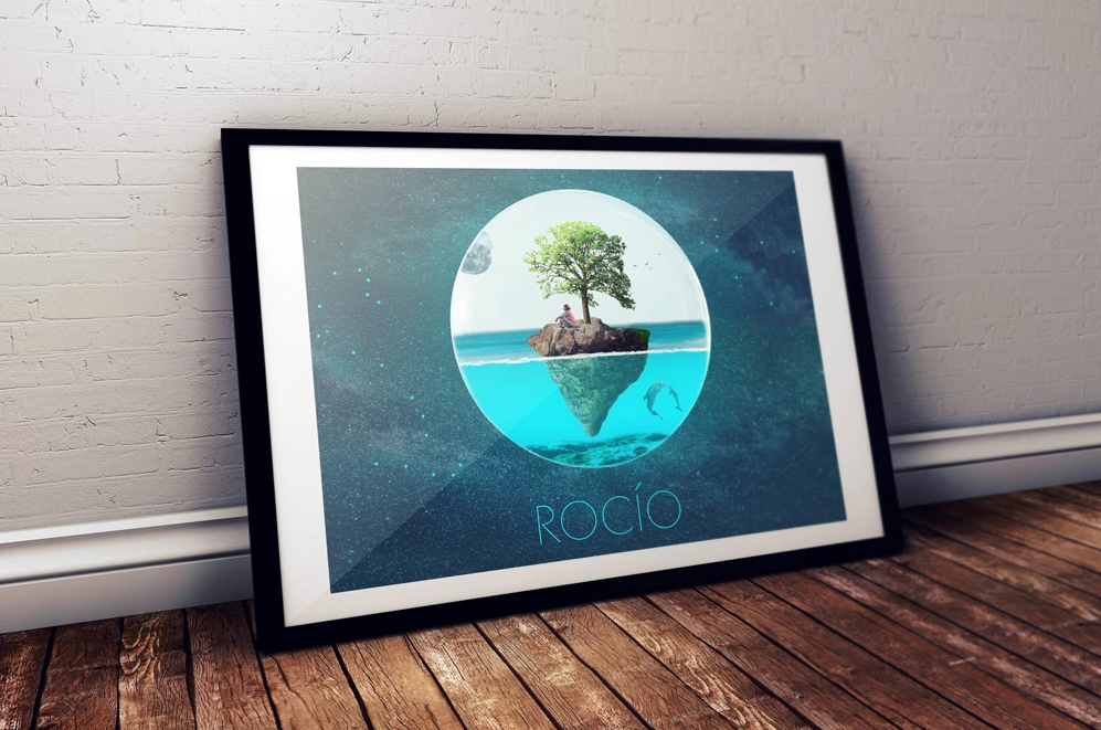 Rocio Art Poster Lifestyle Mockup in a large Black frame