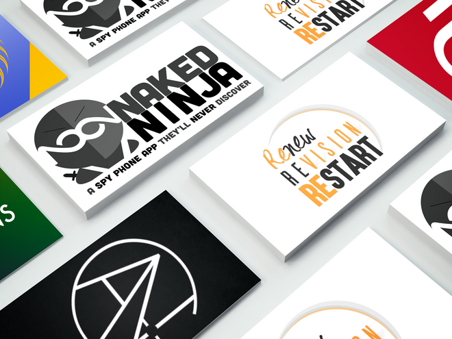 Mix of logos on business cards
