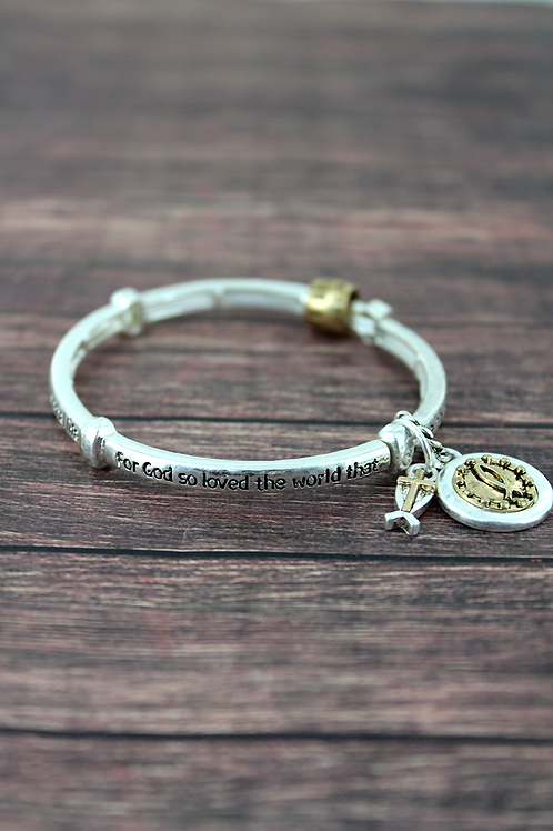 John 3:16 Stretch Bangle With Charm