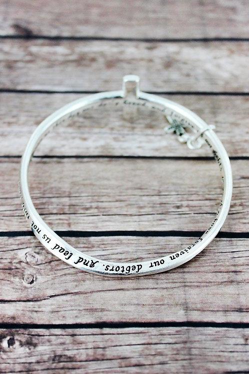 Lord's Prayer Silvertone Twist Bracelet