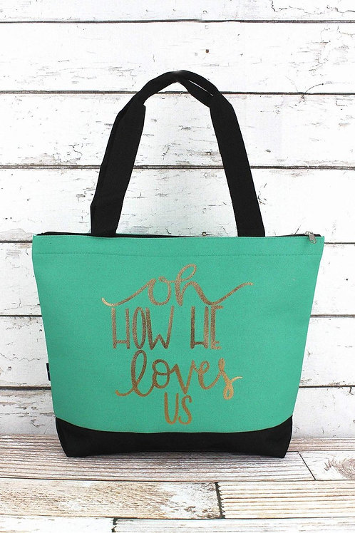 Oh How He Loves Us Mint Tote