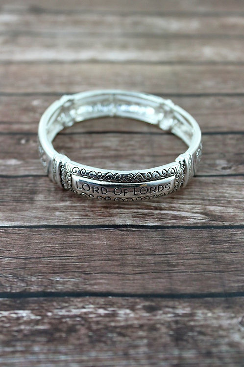 Silvertone Scroll Revelation 19:16 Bracelet