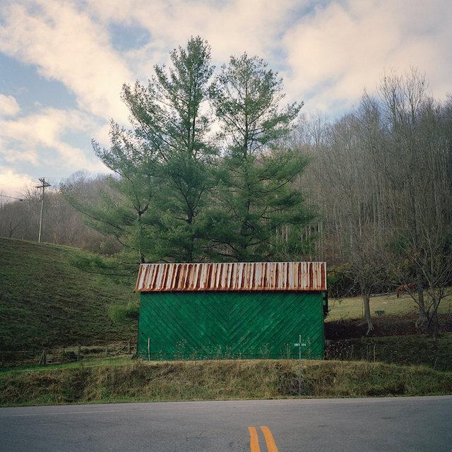 Green Barn, Tree, & Road