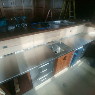 XL Stainless Custom Counter With Built In Sink