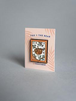 Sloth Postage Stamp Pin