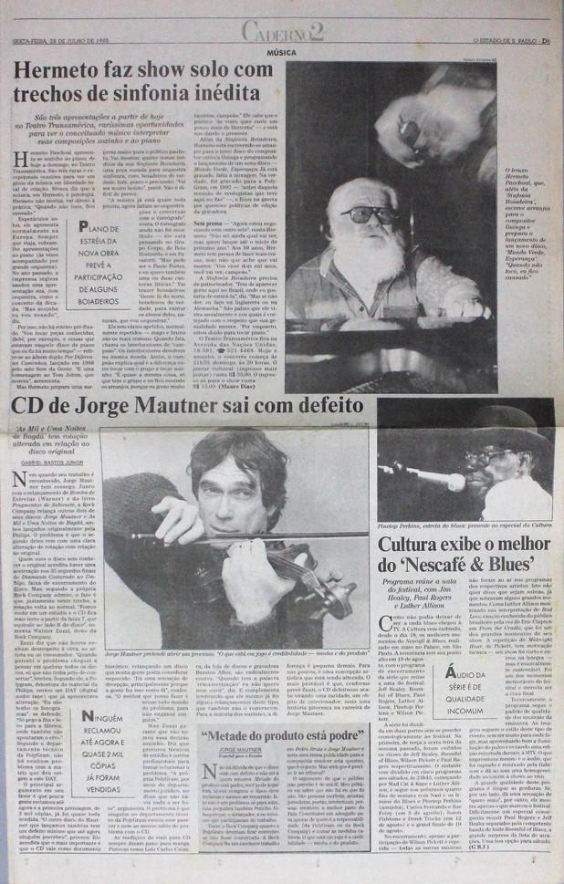 Caderno 2, O Estado de S. Paulo. 28/07/1995