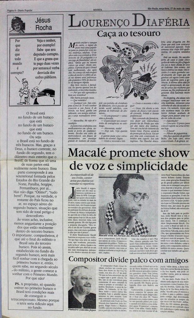 Diário Popular, Caderno Revista. 17/05/1994