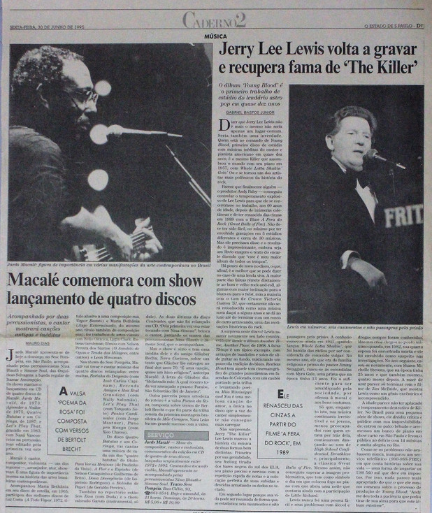 Caderno 2, O Estado de S. Paulo. 30/06/1995