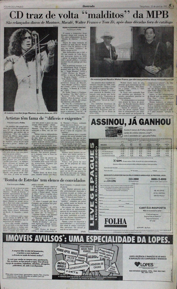 Ilustrada, Folha de S. Paulo. 25/04/1995
