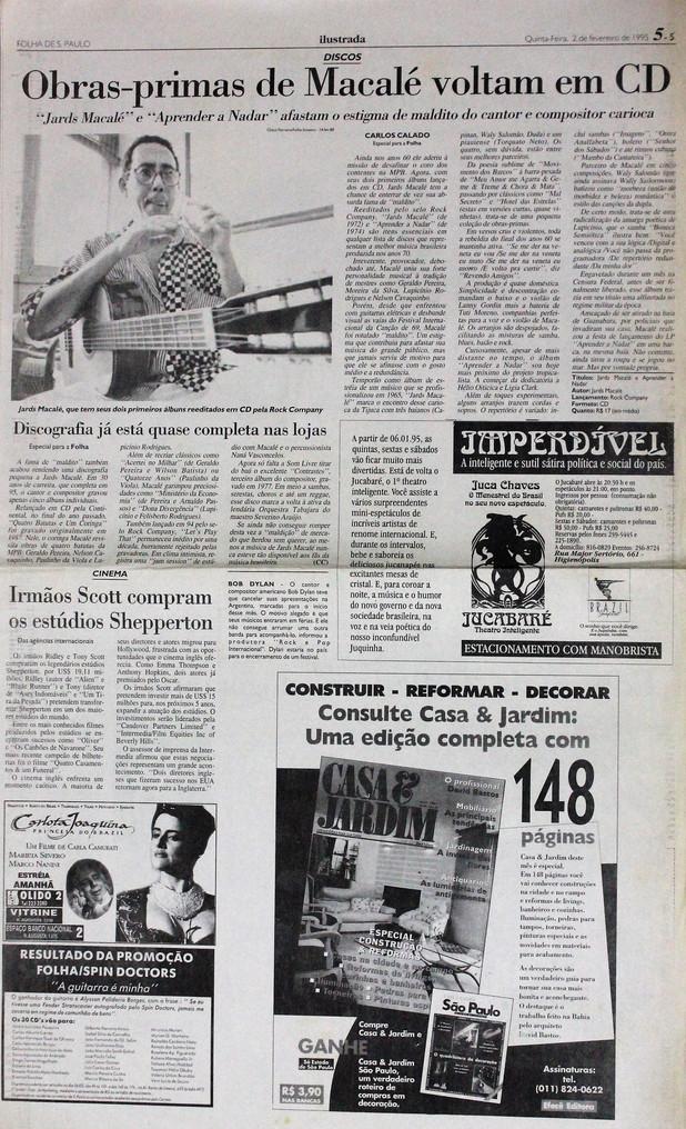 Ilustrada, Folha de S. Paulo. 02/02/1995