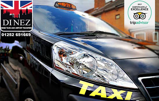 Wheelchair taxi van with Dinez Taxis and Airport Transfers logo and telephone number 01252 651669, a Certificate of Excellence Award from Tripadvisor at the upper right side