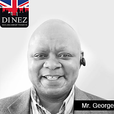 Taxi driver Mr. George smiling with Dinez Taxis and Airport Transfers logo at the far upper left side
