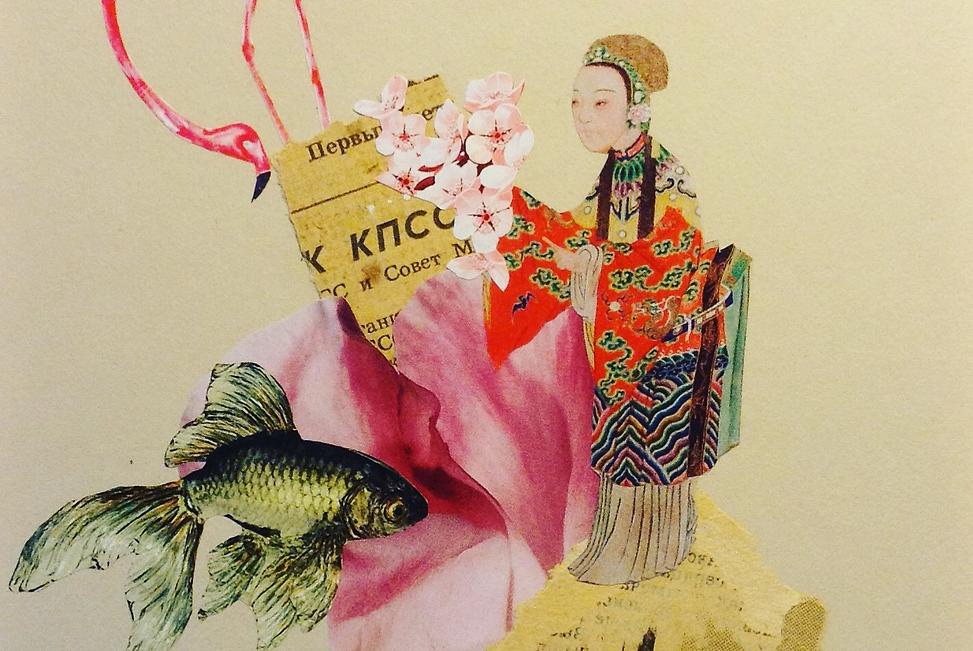 Wu chinese shaman flower fish flamingo analogue collage