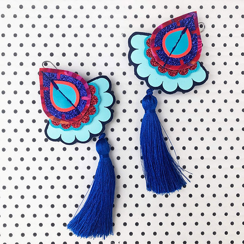 STATEMENT TASSEL EARRINGS in bright red and blue