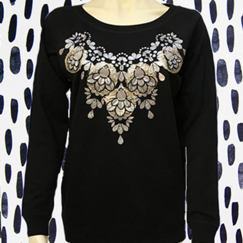 SPARKLY EMBELLISHED SWEATSHIRT in black and silver