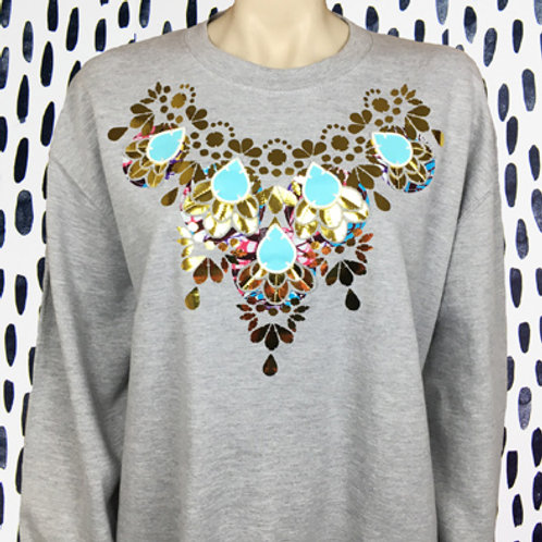 EMBELLISHED SWEATSHIRT in Grey and gold