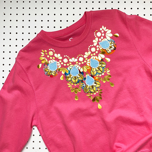 EMBELLISHED SWEATSHIRT in light pink and gold SIZE SMALL