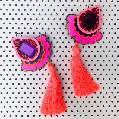 STATEMENT TASSEL EARRINGS in bright pink, neon coral and purple