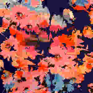 Paintily floral print fabric in hot pink, orange and dark indigo blue