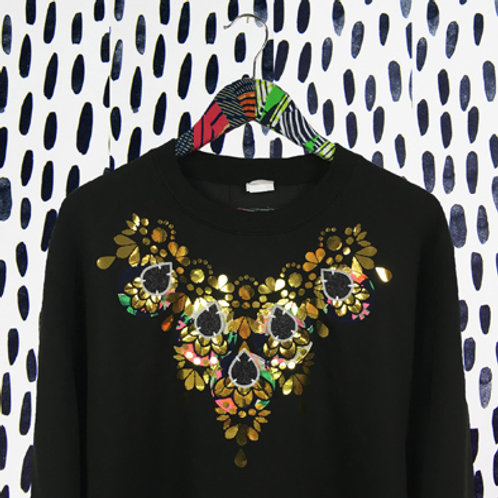 EMBELLISHED SWEATSHIRT in Black and Gold mirror