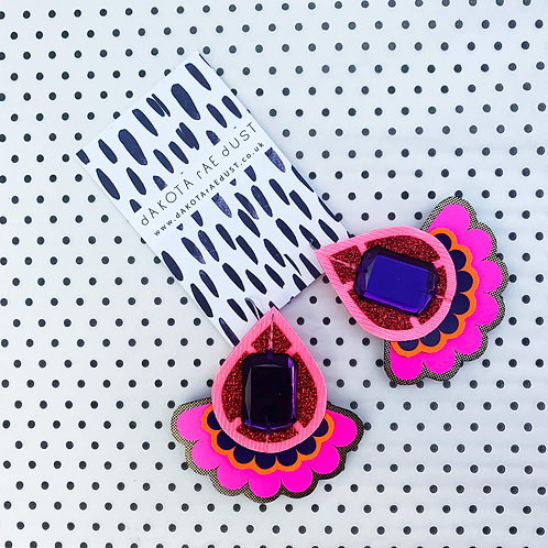 OVERSIZE JEWELLED JAZZY PLECTRUM EARRINGS in fluoro pink, red glitter and purple