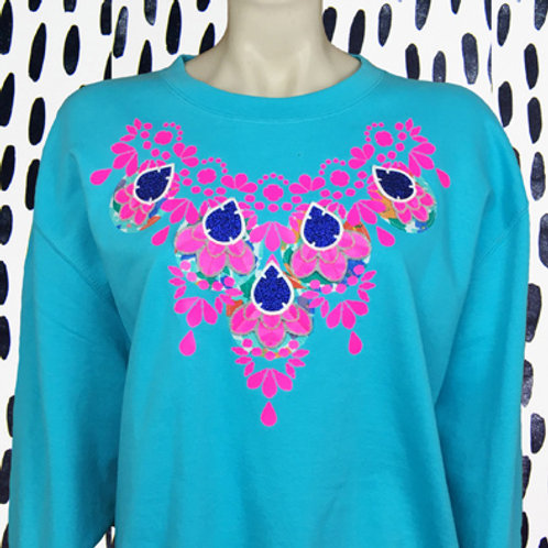 EMBELLISHED SWEATSHIRT in Turquoise and fluorescent pink