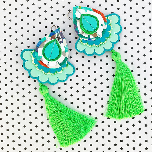 STATEMENT TASSEL EARRINGS in bright green and turquoise