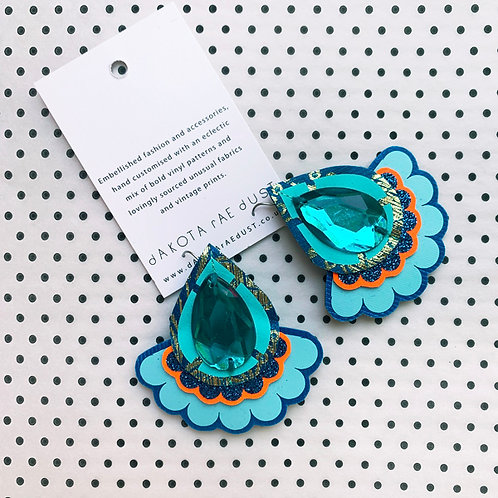 OVERSIZE, JEWELLED, JAZZY PLECTRUM EARRINGS in turquoise and orange
