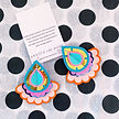 gold blue orange oversize plectrum earri