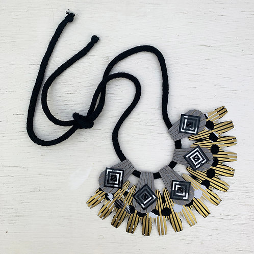 METALLICS clothes peg, bib necklace in gold, black and grey