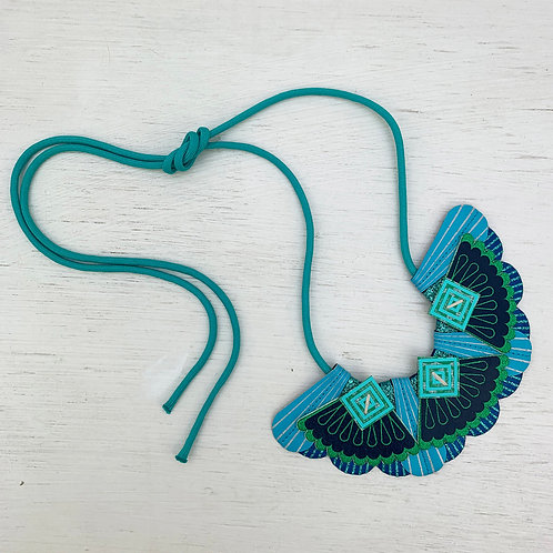 PEACOCK COLOURS large fan, bib necklace in blue and bright green