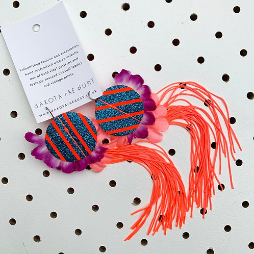 NEON CORAL FRINGE EARRINGS featuring geometric shapes and a petal trim