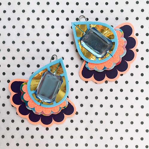 OVERSIZE JEWELLED JAZZY PLECTRUM EARRINGS in light blue, peach, purple and gold