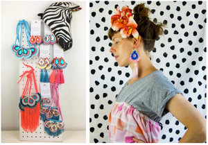 on the left, a colourful display of handmade jewellery, all pieces from dakota rae dust's kimono fabric collection. on the right a photo of designer bec, wearing a pair of her tassel earrings.