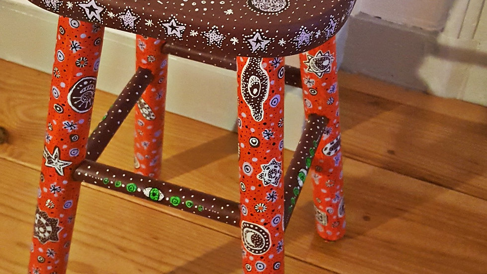 Hand-painted stool
