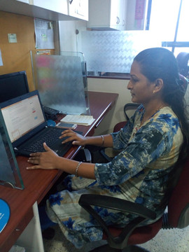 Lady practicing computer