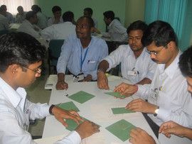 Participants engrossed in games