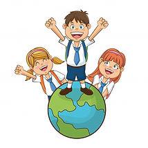 ninos-ninas-dibujos-animados-estudiantes
