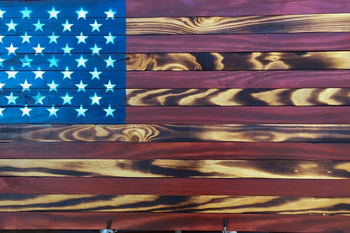Handcrafted United States Wooden Flags
