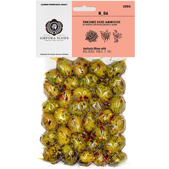 Amfissis green olives in a vacuum 200g marinated with spicy boukovo, basil & bay