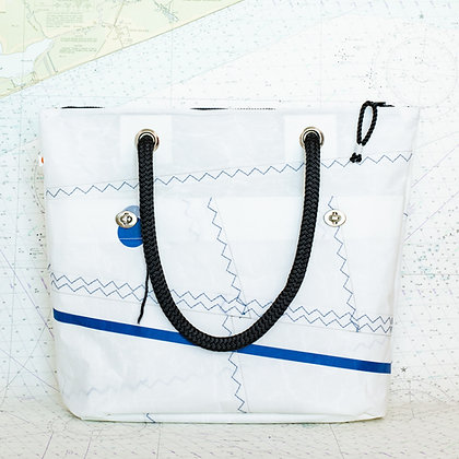 Recycled Sail Tote with Black Line
