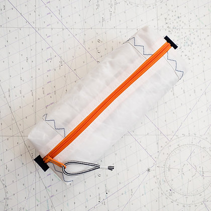 Large Recycled Sail Dopp Kit - with orange zip and navy
