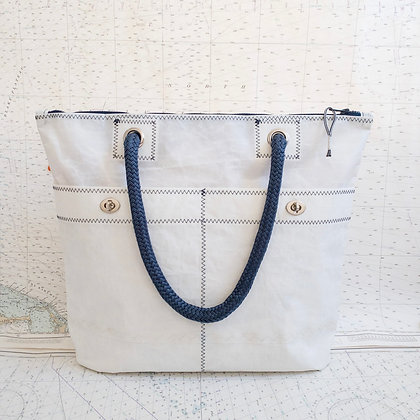 Recycled Sail Tote with Navy Contrast***